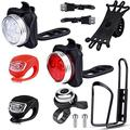 EAONE Bicycle Accessories with USB Rechargeable Bike Light Silicone LED Bicycle Light Front and Back Bike Water Bottle Holder Silicone Bike Phone Mount and Bike Bell (USB Cables and Straps Includ