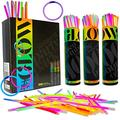 DRAGON TOO 300 Glow Sticks and Connectors Bulk Party Supplies Pack - 8 Inch Bright Glow Sticks for Bracelets and Necklaces - Fun for Kids and Adults
