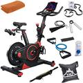 Echelon ECH01-EX3-RED Smart Connect Fitness Bike EX-3 (Red) Bundle with Workout Cooling Sport Towel, Black Mountain 7-Piece Fitness Kit and Deco Essentials Sport Zippered Waist Belt
