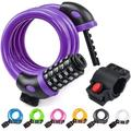 Bicycle Lock, Bicycle Chain Locks with 5 Digit Codes Resettable Combination Bicycle Cable Lock for Bicycle, Motorcycle, Door, Pushchair, BBQ, Luggage(Purple)
