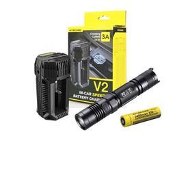 Value Bundle: NITECORE P12 CREE XM-L2 (U2) LED Flashlight - 1000 Lumens with NITECORE V2 In-car Speedy Battery Charger - 3A and 1x NITECORE 18650 (NL1834) Li-ion Rechargeable Battery