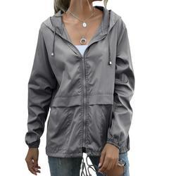 MELLCO Women Waterproof Jacket Zipper Fully Taped Seams Rain Coat Spring Autumn Parka (Dark Gray, L)
