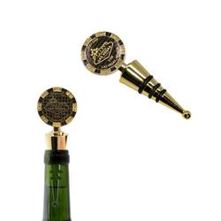 $100 Las Vegas Poker Chip Wine Stopper - Welcome to Las Vegas Sign Poker Chip Wine Stopper with Rubber Seal (Gold and Black)