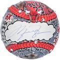 Michael Jordan Chicago Bulls Autographed Baseball - Upper Deck - - Hand Painted by Artist Charles Fazzino - Fanatics Authentic Certified