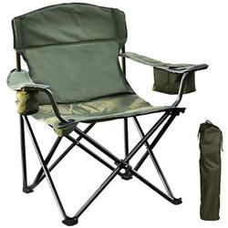 Folding Camping Chair with Cooler, Ultralight Outdoor Portable Chair with Cup Holder and Carry Bag, Padded Armrest Camping Chair, Collapsible Lawn Chair for BBQ, Beach, Hiking, Picnic, TE092