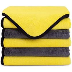 Premium Microfiber Polishing Cloths Ultra Absorbent Wipes for Car Cleaning or Home Use Pack of 5