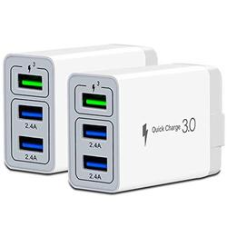 ZIQIAN Wall Charger Fast Adapter,[ QC 3.0 + 2 USB ] Fast Wall Charger 3 Ports Tablet iPad Phone Fast Charger Adapter Quick Charge 3.0 Travel Plug Compatible Samsung, HTC, iPhone More (2 Pack)