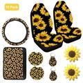 10PCS Car Front Seat Covers Sunflower Pattern Fashionable Soft Center Pad Covers Car Cup Holder Coaster Keyring