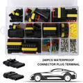 240pcs 1-6 Pin Way Waterproof Electrical Wire Connector Plug Terminal Fuses Kit Car Accessories for Car Motorcycle