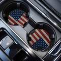 Car Coasters for Drinks Absorbent, Cute Car Coasters for Women, ar Cup Holder Coasters for Your Car with Fingertip Grip, Auto Accessories for Women & Lady,Pack of 2 (Flag-1)