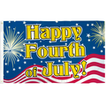 Happy Fourth of July Flag Patriotic Fireworks Flag July 4th Holiday 3x5