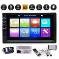 Vehicle 7 inch Bluetooth Capacitive Touch Screen Double 2 Din Car Stereo System Auto Radio MP5 MP3 Player with Coloful Button Light Automotive Head Unit New Designed UI + HD Backup Camera