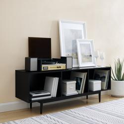 Liam Large Record Storage Console Cabinet Black- Crosley CF1115-BK