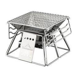 OUKANING Portable Stainless Steel BBQ Grill Folding Mini Barbecue Home Outdoor Stainless Steel in Gray, Size 7.47 H x 7.48 W x 7.48 D in   Wayfair