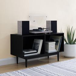 Liam Medium Record Storage Console Cabinet Black- Crosley CF1116-BK