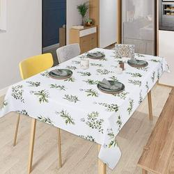 Gracie Oaks Green Leaves Tablecloth, Tropical Leaf Plant & Butterfly Table Cloth, Spring Summer Waterproof Wrinkle Free Tablecover For Kitchen