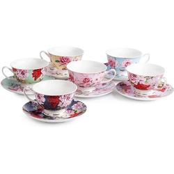 ZWISSLIV Tea Cups & Saucers Set Of 6, Tea Set, Floral Tea Cups (8Oz), Tea Cups & Saucers Set, Tea Set, Porcelain Tea Cups, Tea Cups For Tea Party