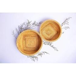 Rosalind Wheeler Rattan Basket, Wicker Bowl   Bread Baskets For Serving   Round Wicker Baskets, Wicker Fruit Basket   Yellow Bread Basket in Brown