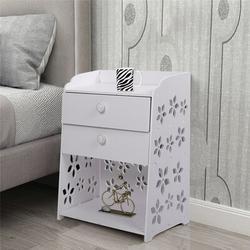 Red Barrel Studio® 2 Drawer Night Stand Storage Furniture Shelf Cupboard Wood in Brown/White, Size 19.7 H x 15.7 W x 11.8 D in   Wayfair