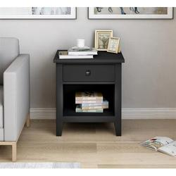 Red Barrel Studio® 1 Drawer Nightstand Solid Wood, Traditional Design Wood in Black, Size 24.01 H x 20.9 W x 18.1 D in | Wayfair