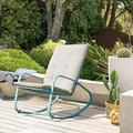 OC Orange-Casual Patio Rocking Chairs Outdoor Metal Rocker with Removable Paded Beige Cushion, Support to 350 Lbs, Turquoise