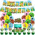 Animal Crossing Birthday Party Supplies 46PCS Gifts for Kids Video Game Theme Party Decorations 20 Pack Balloons, 1 Pack Banner, 25 Pack Cake Toppers