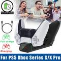 Dual USB Charger Fast Charging Dock Station Stand for Sony PS5 / XBOX SERIES S X / XBOX ELITE, TSV Dual Controller LED Charging Station with Charging Cable
