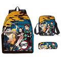 YIMENLR Cartoon Anime School Bag with Shoulder Bags Pencil Bag, Demon Slayer Backpack for Teenager Boys Girls School Travel,B