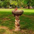 Polyresin Bird Bath,Owl-Style Bird Baths,Exquisite Owl-style Resin Birdbath Lawn Yard Art Crafts,Fairy Tale House Bird Bath Drinking Feeder Artifact for Home Garden Patio Lawn Backyard Decoration (A)
