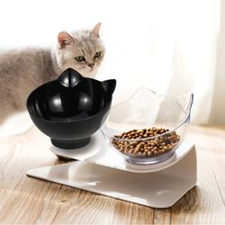 Cat Elevated Bowl,Pet Feeding Bowl,Cat Bowl With Holder Anti-slip, Raised The Bottom for Cats and Small Dogs, Cute Cat Face Single Double Bowl