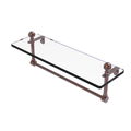 Mambo 16-in Glass Vanity Shelf with Integrated Towel Bar in Antique Copper