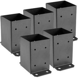 VEVOR 4 x 4 Post Base 5 PCS, Deck Post Base 3.6 x 3.6 inch, Post Bracket 2.5 lbs, Fence Post Anchor Black Powder-Coated Deck Post Base with Thick Steel for Deck Supports Porch Railing Post Holders