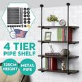2 PCS Industrial Retro Wall Mount Iron Pipe Shelf Hung Bracket Diy Storage Shelving Bookshelf (4 Tier Hardware only)