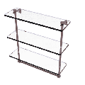 16-in Triple Tiered Glass Shelf with Integrated Towel Bar in Antique Copper