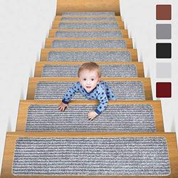 """MBIGM 8"""" X 30"""" (15 in Pack) Non-Slip Carpet Stair Treads Non-Skid Safety Rug Slip Resistant Indoor Runner for Kids Elders and Pets with Reusable Adhesive, Light Grey"""