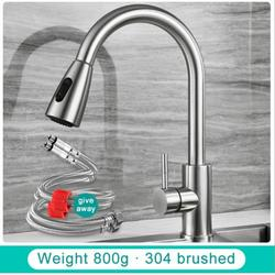 Shengshi Rozin Brushed Nickel Kitchen Faucet Single Hole Pull Out Spout Kitchen Sink Mixer Tap Stream Sprayer Head Chrome/Black Mixer Tap Silver