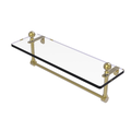 Mambo 16-in Glass Vanity Shelf with Integrated Towel Bar in Satin Brass