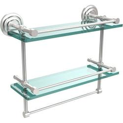 16-in Gallery Double Glass Shelf with Towel Bar in Satin Chrome