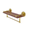 Monte Carlo Collection 16 Inch IPE Ironwood Shelf with Gallery Rail and Towel Bar