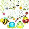 34 Pieces Spring Summer Insects Party Decorations Includes Insect Hanging Swirl Decoration Insect Aluminum Foil Balloons Insects Themed Party Hanging Supplies for Girls Boys Kids Home Classroom