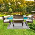 Outdoor Leisure Rattan Furniture Rattan Chair Small Four-piece Coffee Table Solid Wood Coffee Table-Grey
