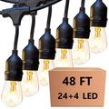 48FT LED Outdoor String 24 Light with Shatterproof LED Filament Bulb for Patio Lights, Backyard Lights, Porch Lights, Party Lights and Commercial Lighting Christmas decoration (4 Spare Lights )
