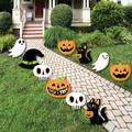 Jack-O'-Lantern Halloween - Black Cat, Ghost, Skull and Witch Hat Lawn Decorations - Outdoor Kids Halloween Party Yard Decorations - 10 Piece