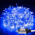 Jmexsuss Blue Halloween String Lights Plug In 33Ft 100 Led Christmas Lights 8 Modes Christmas String Lights Blue Fairy String Lights Indoor For Christmas Tree Home Party Bedroom Decoration