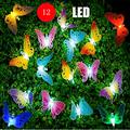 LED String Lights, 12Pcs Multi-Color LED Fiber Optic Butterfly Lights, 16ft Length, Solar-Powered Fairy Lights, Waterproof LED Strand Lights for Garden, Christmas,Outdoor Lighting Decorations