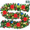 9 Foot Prelit Christmas Poinsettia Garland with 50 Lights,Battery Operate Lighted Xmas Garland with Ball Ornament Gold Red Berry Pine Garland Xmas Holiday Decoration Indoor Mantle, Warm White