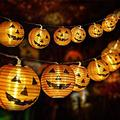 Halloween 3D Pumpkin Strip Light, 20 PCS Halloween Decoration LED Lights Powered by Battery, Indoor Outdoor Halloween Festival Decoration Lanterns Lights, Orange