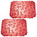 """mDesign Adjustable Kitchen Sink Dish Drying Mat/Grid - Soft Plastic Sink Protector - Cushions Sinks, Stemware, Glasses, Dishes - Quick Draining Pebble Design - Large, 15.75"""" Long - 2 Pack - Red"""