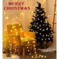 Snowflake String Lights, 19.68 ft LED String Lights with 2 Modes, Battery Operated LED Snowflake Lights for Indoor Outdoor Decoration, Waterproof LED String Lights for Christmas Tree, Yellow, L0020