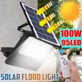 2Pcs/1Pcs LED Solar Power Flood Light, 100W/95LED Outdoor Garden Street Lawn Lamp Spotlight for Pathway,Lawn landscape,Backyard Light + Remote + Time control
